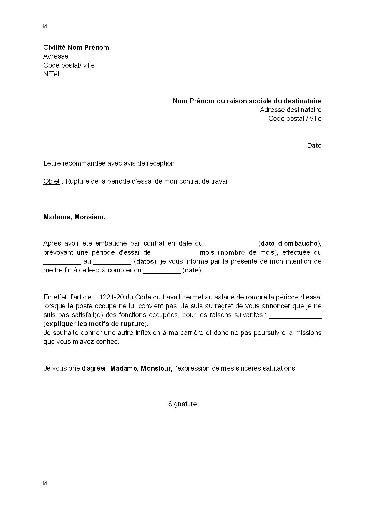exemple gratuit de lettre rupture p u00e9riode essai par salari u00e9