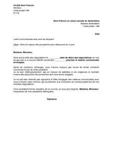 Exemple Gratuit De Lettre Rupture Pourparlers Desaccord Sur Prix