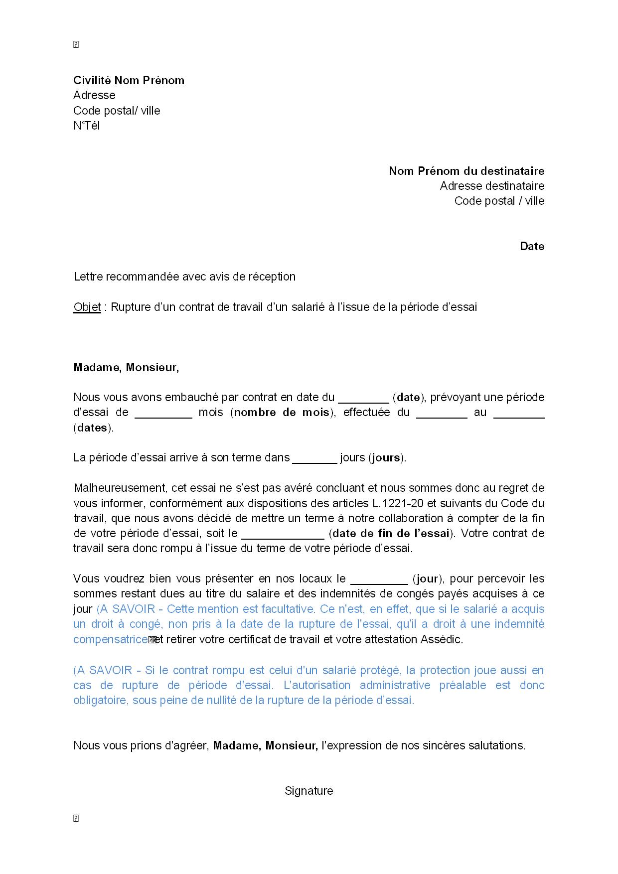Exemple Gratuit De Lettre Rupture Contrat Travail Par Employeur A
