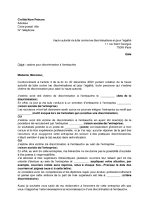 Lettre De Saisine De La Halde Pour Discrimination A L Embauche