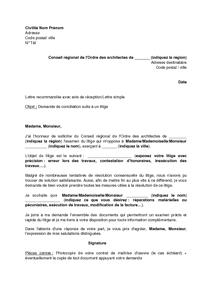 Lettre De Saisine Du Conseil Régional De L Ordre Des