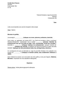 Modèle lettre juge des tutelles