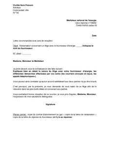 lettre de recommandation fournisseur
