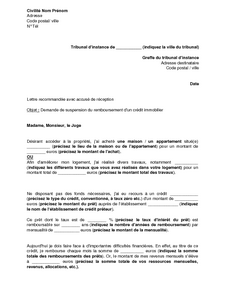 Exemple gratuit de lettre saisine tribunal instance demande suspension rembou - Documents pret immobilier ...