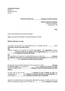 Mod le de lettre remboursement par anticipation d 39 un pr t - Documents pret immobilier ...