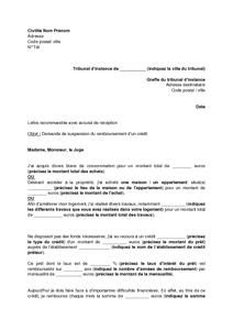 Lettre De Saisine Du Tribunal D Instance Pour Une Demande De