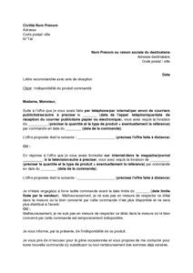 Lettre informant le consommateur de l 39 indisponibilit du produit command - Faire suivre courrier gratuitement ...