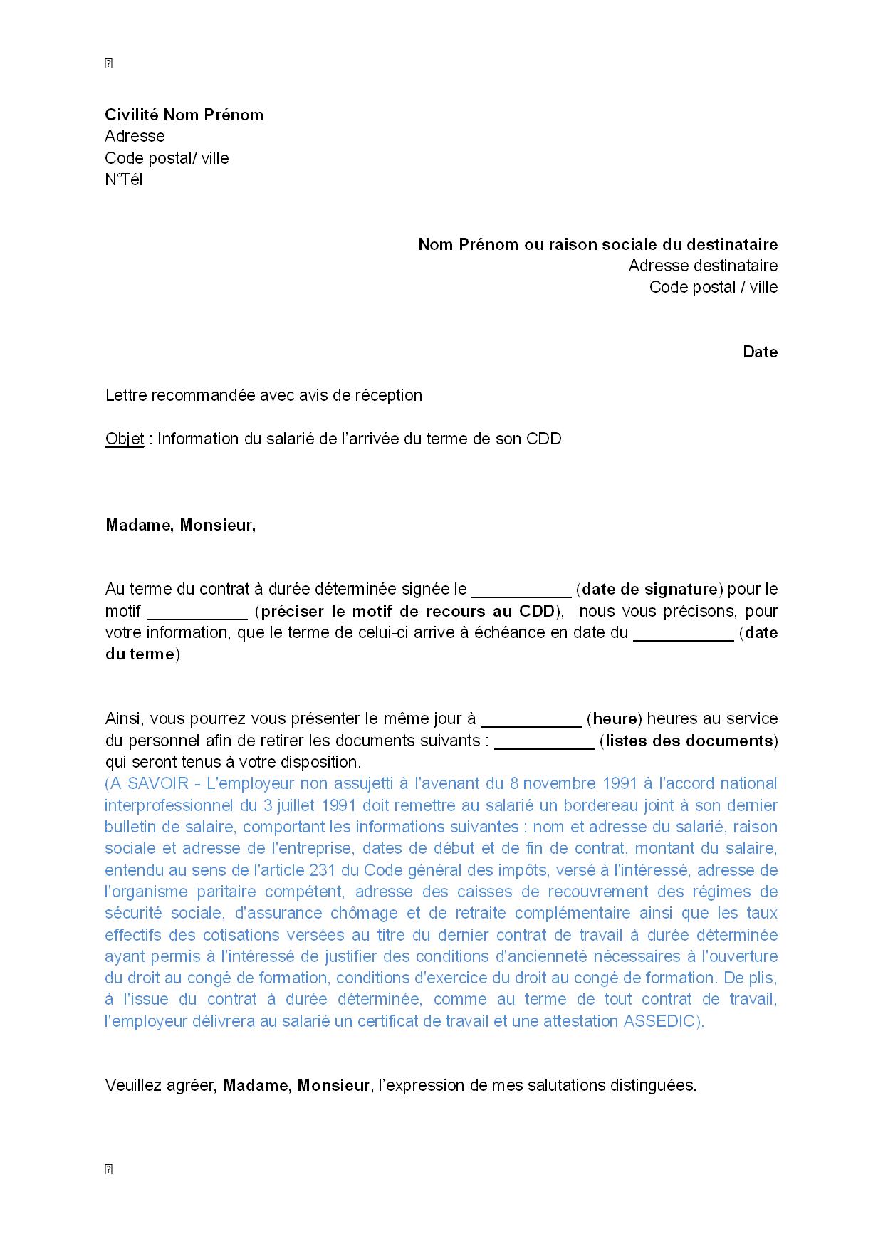lettre informant le salari u00e9 de l u0026 39 arriv u00e9e du terme de son