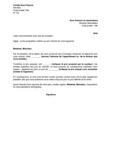Lettre Refusant La Proposition Du Vendeur D Un Bien