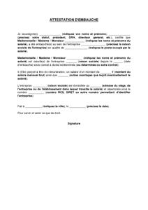 Exemple de lettre gratuit de Modèle attestation embauche