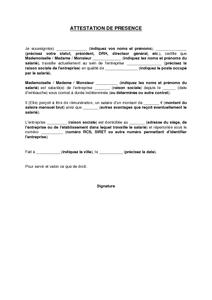 Modele Attestation De Presence A Un Entretien D Embauche Document
