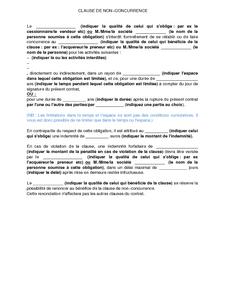 Modele De Clause De Non Concurrence Dans Le Cadre De Relations