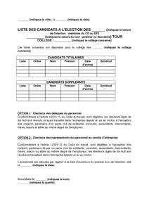 Modele De Communication Des Listes De Candidats Aux Elections