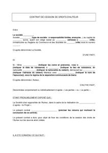 contrat de cession de droit d auteur pdf