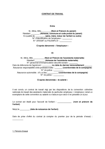 Modèle De Contrat De Travail D Assistante Maternelle