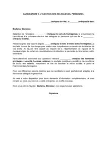 Modele De Lettre De Campagne A L Election Des Delegues Du Personnel Modele De Lettre Gratuit Exemple De Lettre Type Documentissime