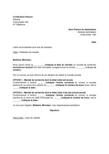 Modèle De Lettre De Résiliation D Un Mandat De Recherche D