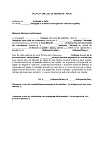 Exemple De Lettre Gratuit De Modele Mandat Representation Devant