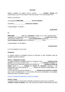 Modele De Mandat Non Exclusif De Recherche D Un Bien Immobilier