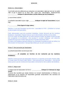 Modele De Statuts Types D Association Regie Par La Loi Du 1er