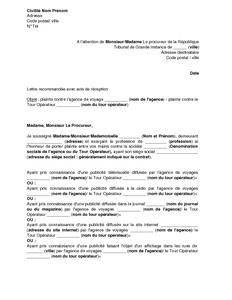 Plainte au procureur de la r publique pour publicit trompeuse prestations - Lettre au procureur pour plainte ...