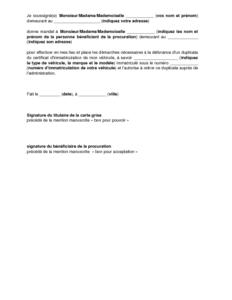 modèle procuration carte grise Exemple de lettre gratuit de Procuration fins demande duplicata