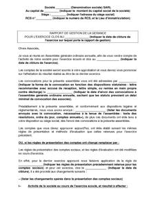 Rapport de la gestion de la g rance d 39 une soci t - Rapport de stage cabinet d avocat exemple ...