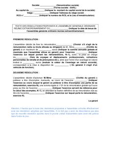 Resolutions Proposees A L Assemblee Generale Ordinaire Reunie