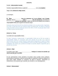 statuts type d 39 eurl comment s mod le de lettre gratuit. Black Bedroom Furniture Sets. Home Design Ideas