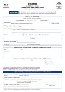 certificat de perte de carte grise CERFA N°13753 01   Déclaration de perte ou vol de certificat d