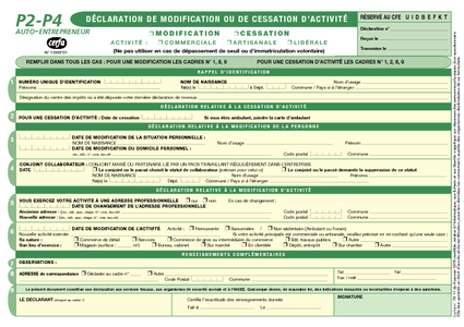 FORMULAIRE CESSATION TÉLÉCHARGER DACTIVITÉ P4